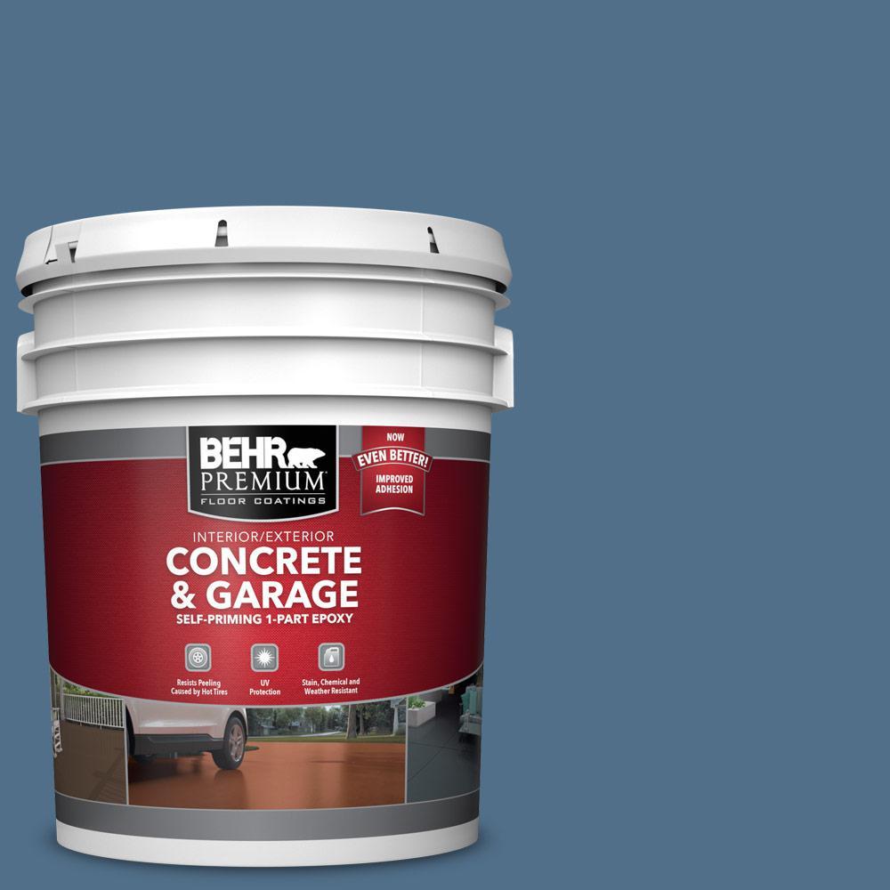 5 gal. #S520-6 Layers of Ocean 1-Part Epoxy Satin Interior/Exterior Concrete and Garage Floor Paint