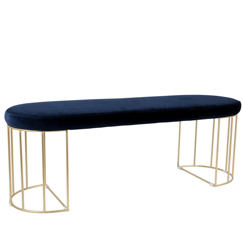 2faa1425c47d2 Lumisource Canary Blue Velvet with Gold Dining Entryway Bench-BC ...
