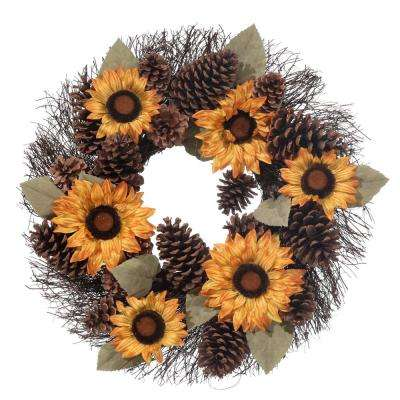 22 in. Harvest Pinecone Sunflower Wreath
