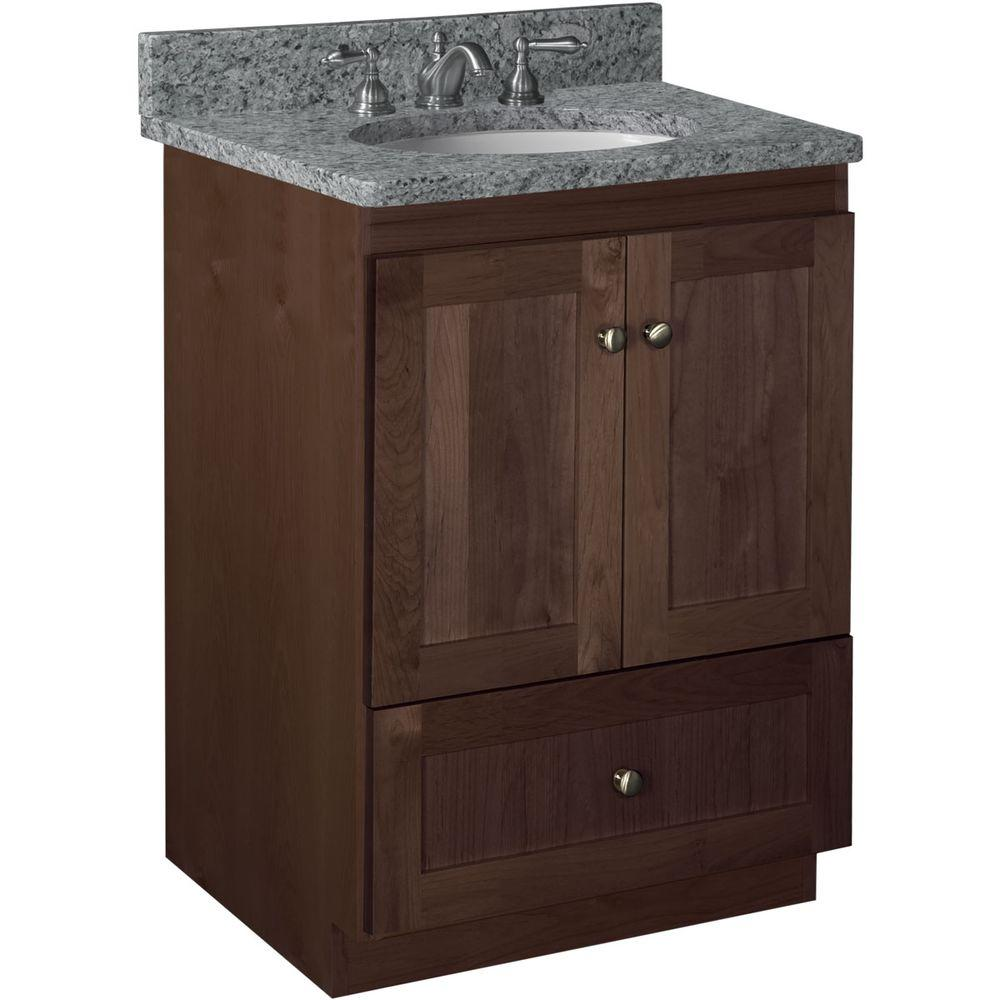 Simplicity by Strasser Shaker 24 in. W x 21 in. D x 34.5 in. H Vanity Cabinet Only in Dark Alder