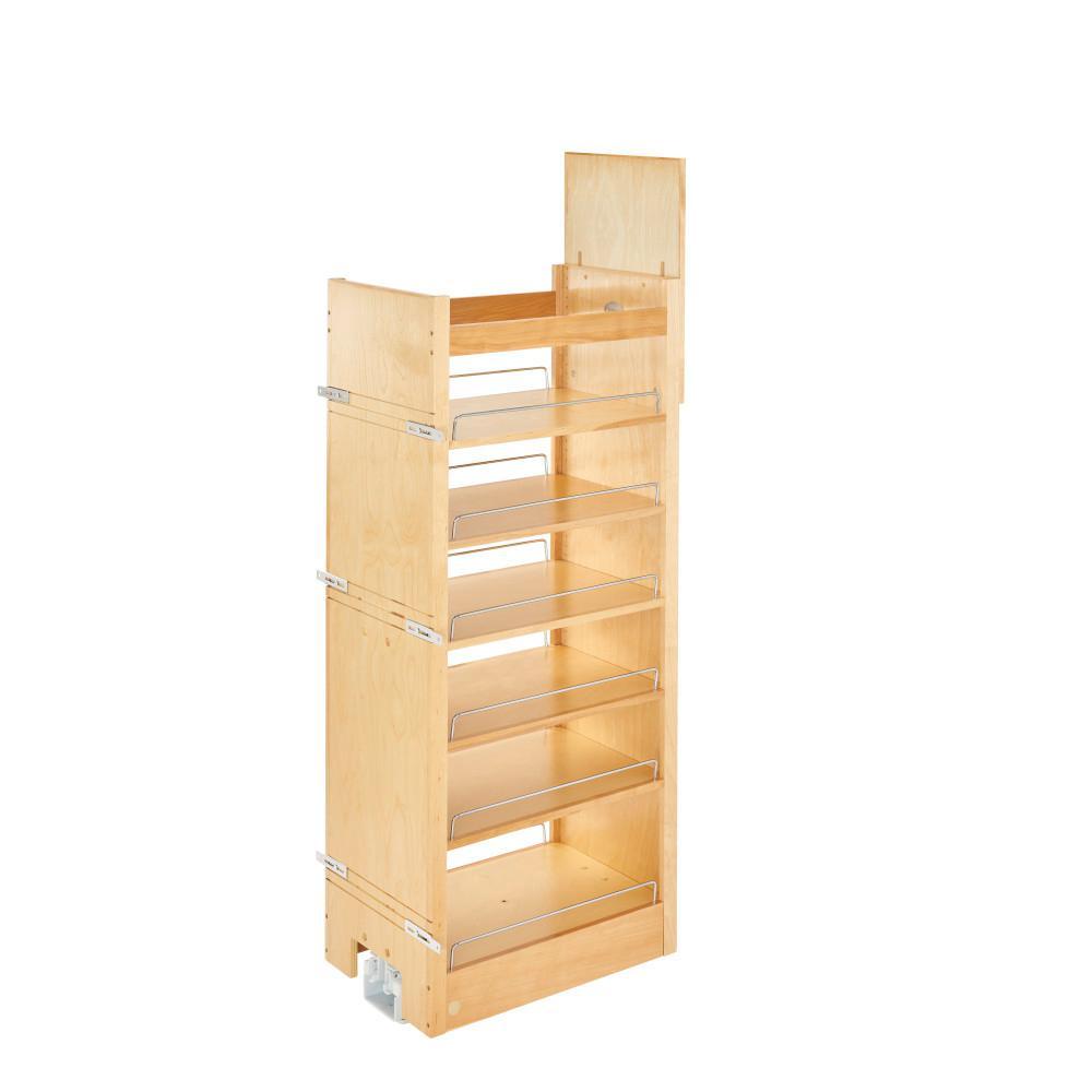 50.75 in. H x 14 in. W x 22 in. D Pull-Out Wood Tall Cabinet Pantry