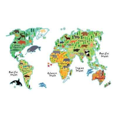 26.4 in. x 37 in. Kids World Map Wall Decal