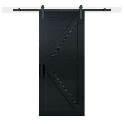 36 in. x 84 in. Knight Composite K-Bar Solid-Core MDF Barn Door with Sliding Door Hardware Kit