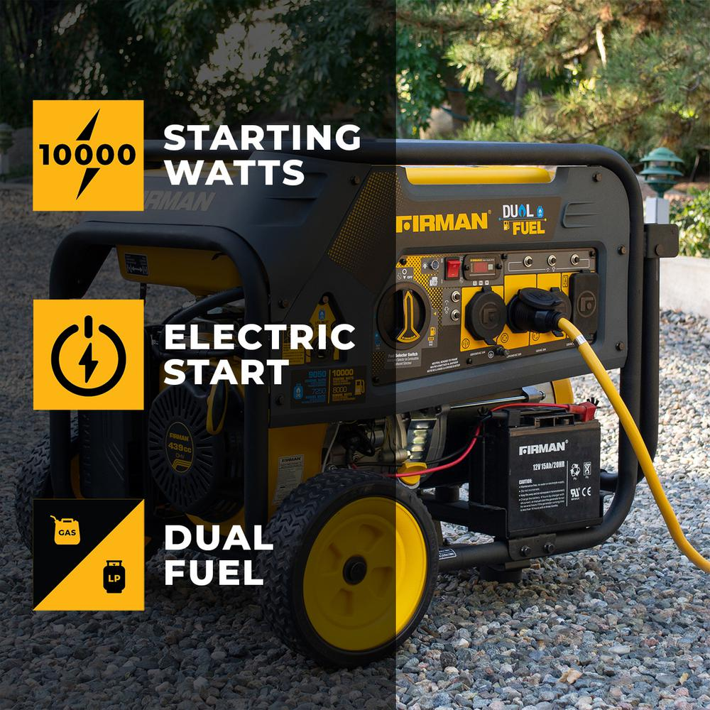 Firman 10000/8000-Watt 120/240V 30/50A Electric Start Gas or Propane Dual Fuel Portable Generator CARB Certified