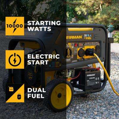 10000/8000-Watt 120/240V 30/50A Electric Start Gas or Propane Dual Fuel Portable Generator CARB Certified