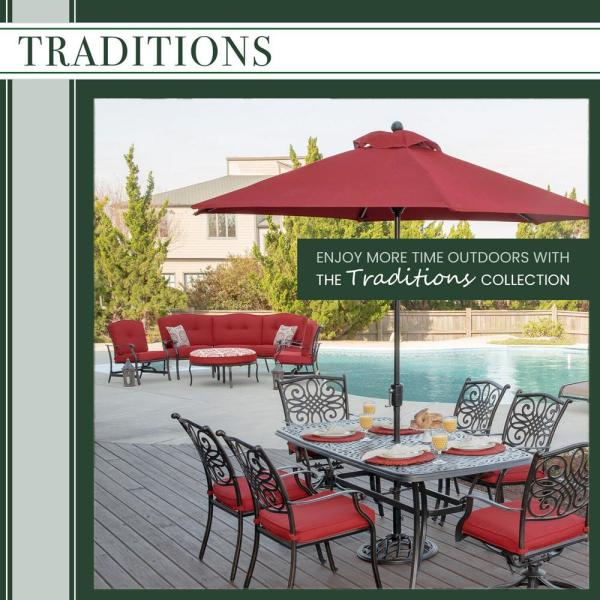 Hanover Traditions 7 Piece Wicker Outdoor Dining Set With Blue Cushions Traddnwb7pcswg Blu The Home Depot