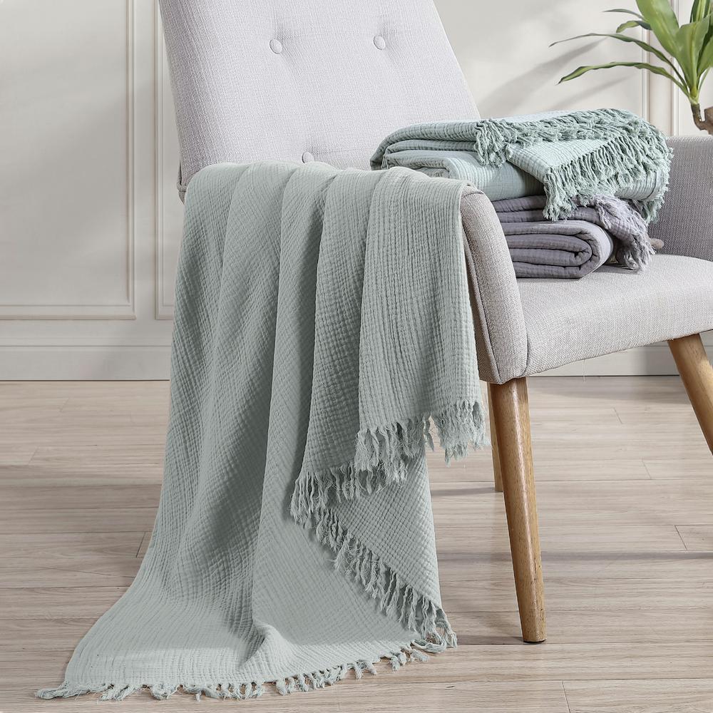 50 in. x 60 in. Reversible Seafoam/Soft Green Cotton Throw Blanket