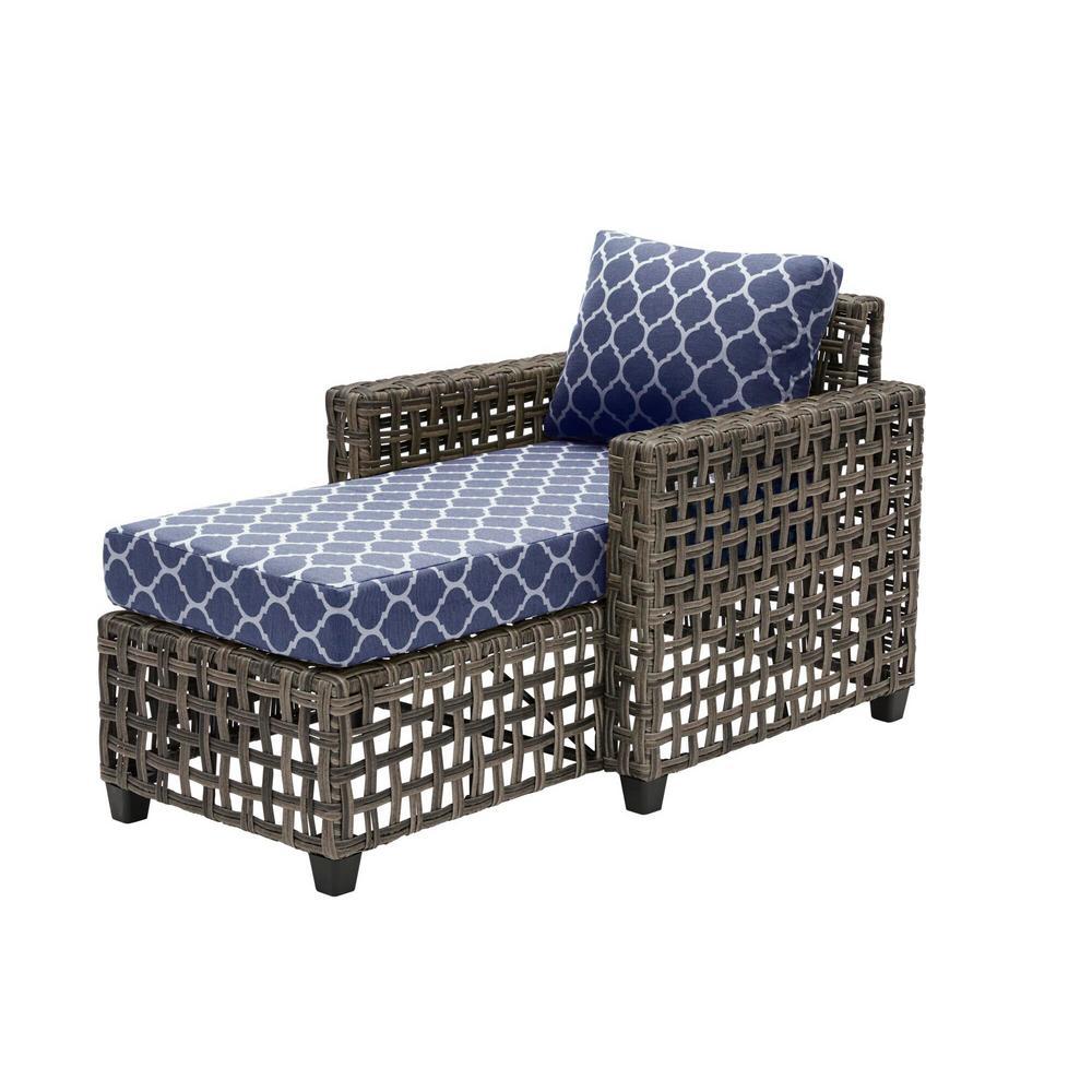 Briar Ridge Brown Wicker Outdoor Patio Chaise Lounge with CushionGuard Midnight Trellis Navy Blue Cushions