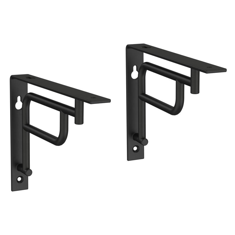 7 in. Matte Black Steel Art Deco Decorative Shelf Bracket (2-Pack)