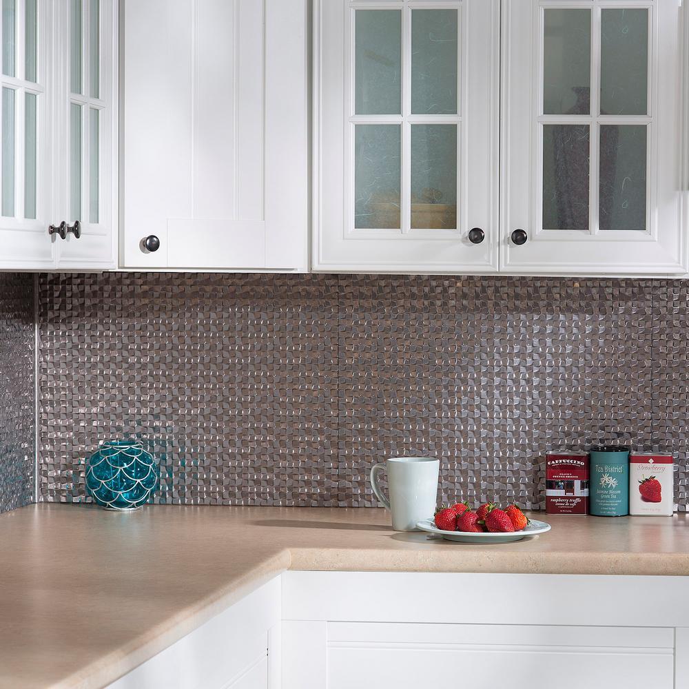 Decorative Wall Tiles Kitchen Backsplash: Fasade Terrain 18 In. X 24 In. Galvanized Steel Vinyl