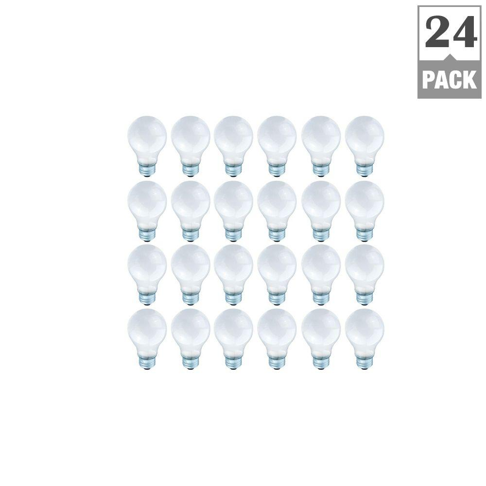 Globe Electric 60-Watt A19 Extended Life 10,000 Hrs Medium Base Frosted Incandescent Light Bulb (24-Pack)-DISCONTINUED