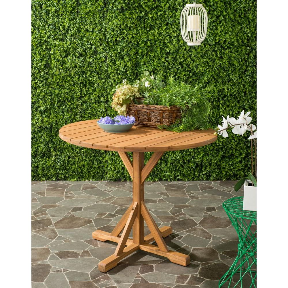 Safavieh Arcata Teak Round Outdoor Patio Accent Table