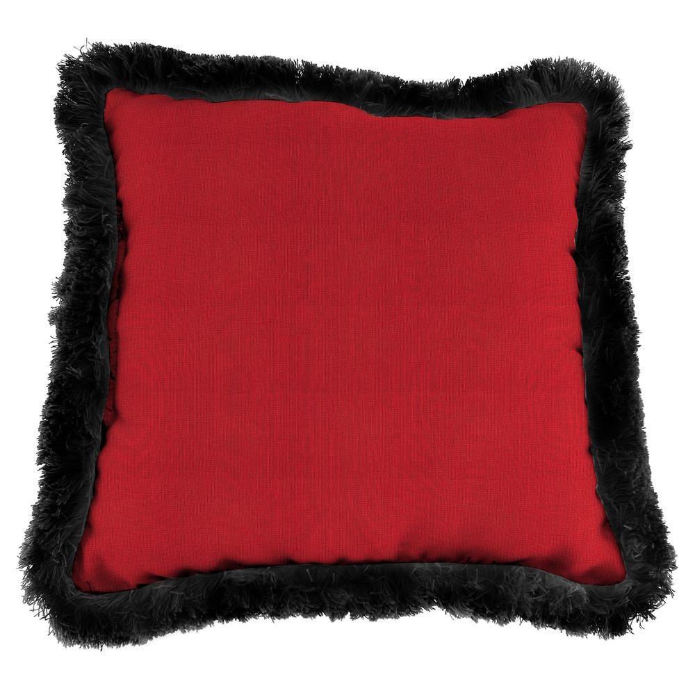 Sunbrella Spectrum Crimson Square Outdoor Throw Pillow with Black Fringe