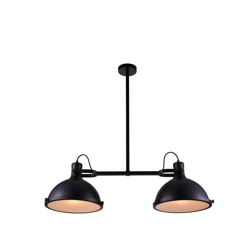 Strum 2-Light Black Chandelier