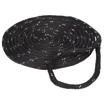 3/8 in. x 15 ft. Reflective Dock Line Double Braid Nylon Rope, Black