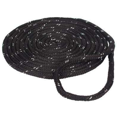 3/8 in. x 15 ft. Nylon Reflective Dock Line Double Braid Rope, Black