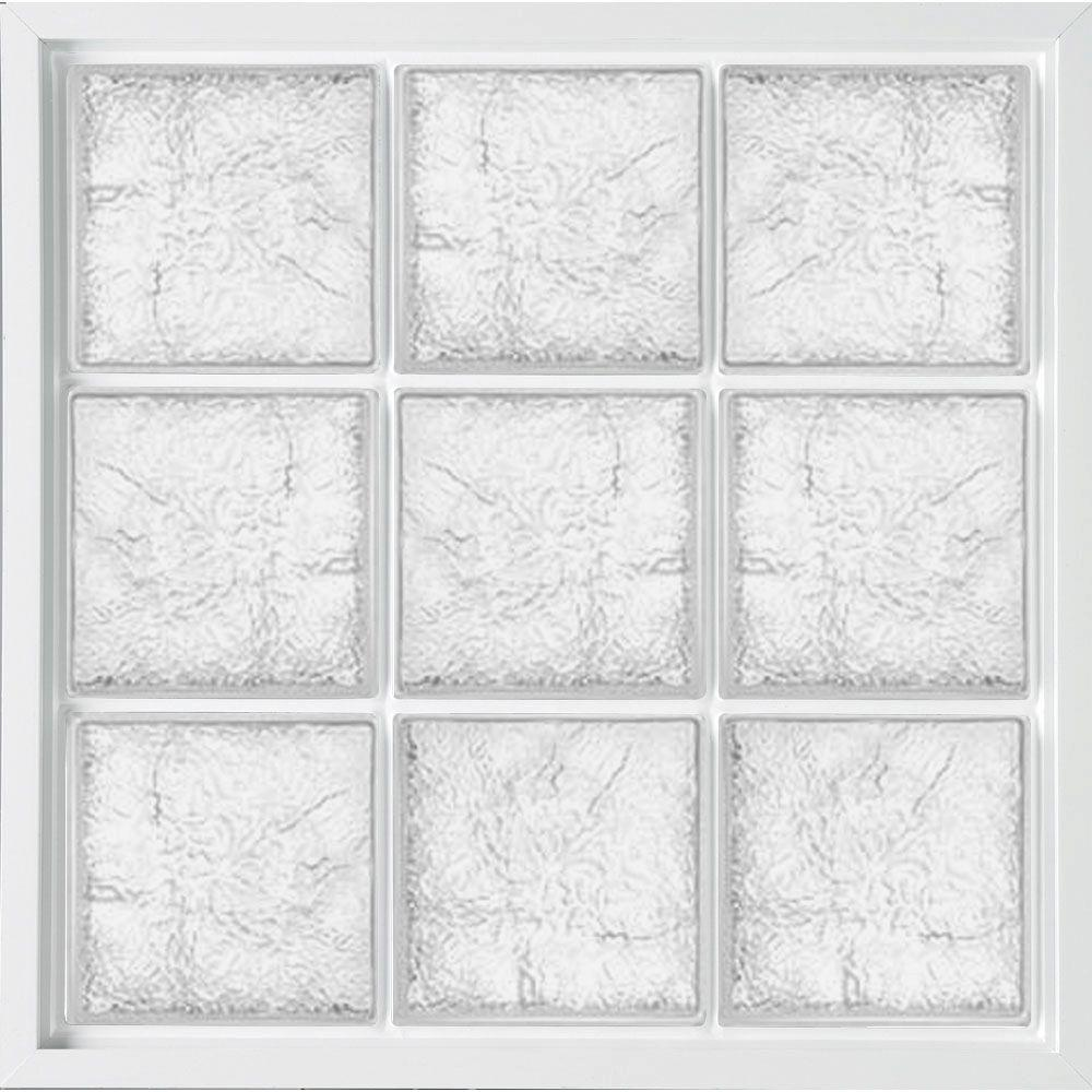 39 in. x 39 in. Glass Block Fixed Vinyl Windows Ice