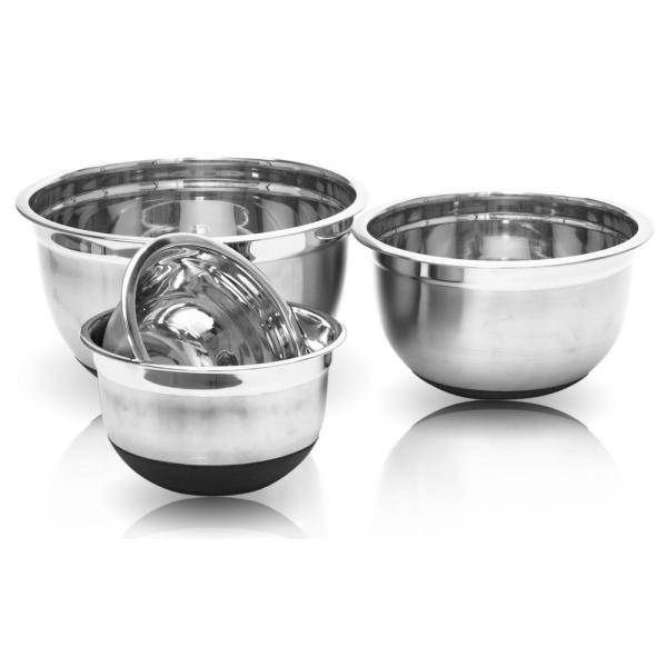undefined 4-Piece Stainless Steel Mixing Bowls with Silicone Bottoms