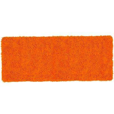 Shag Orange 24 in. x 60 in. Memory Foam Bath Mat