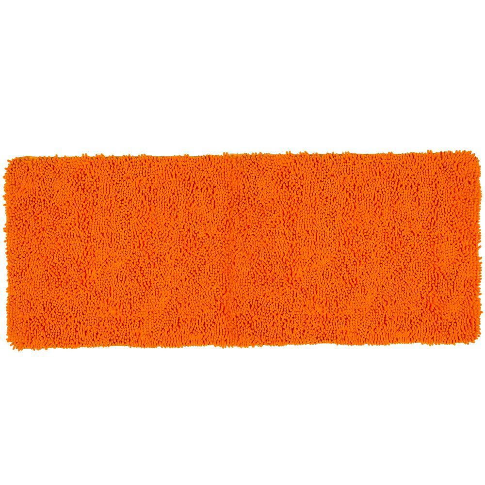 Shag Orange 24 in. x 60 in. Memory Foam Bath Mat