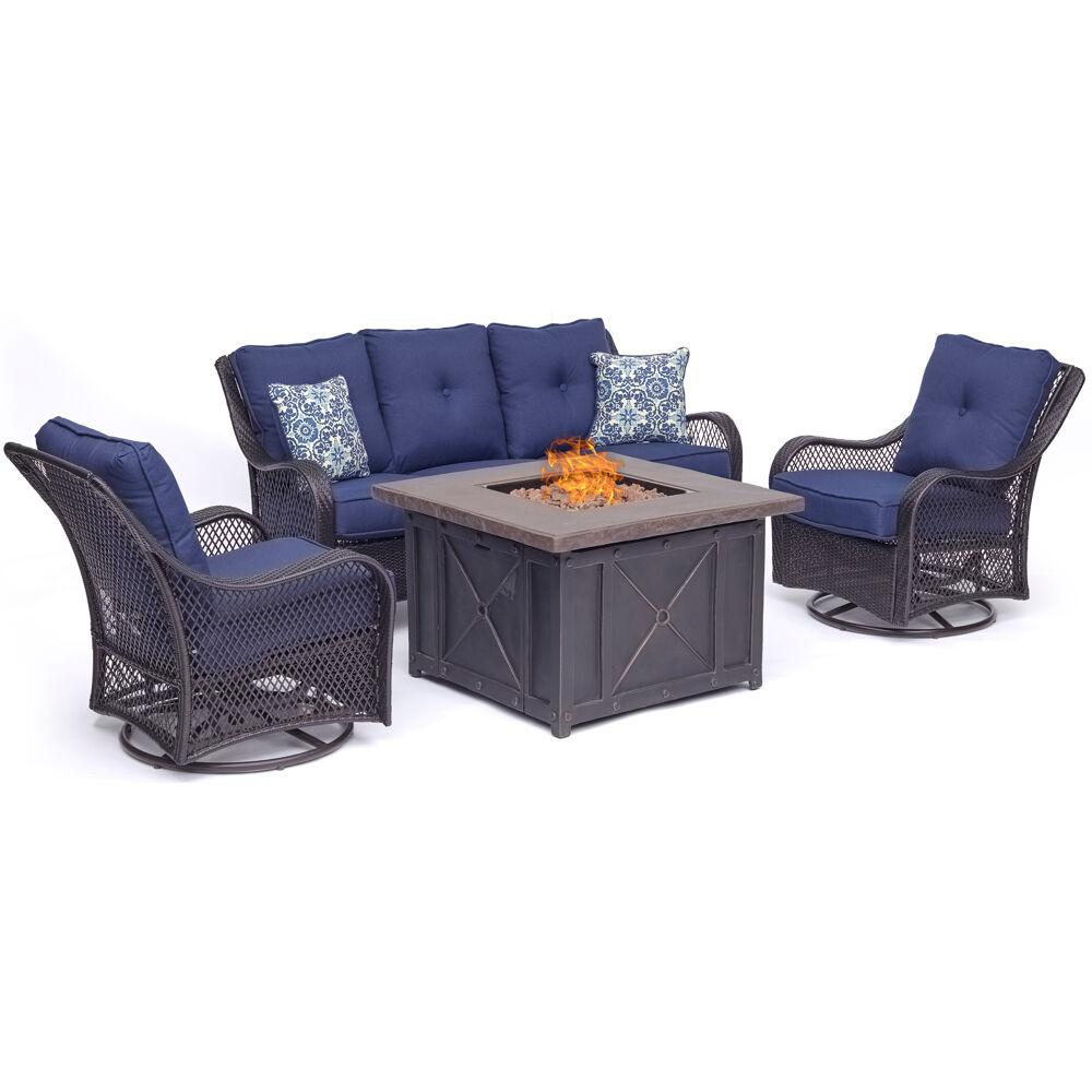 Hanover Orleans 4-Piece Woven Steel Patio Fire pit Seating ...