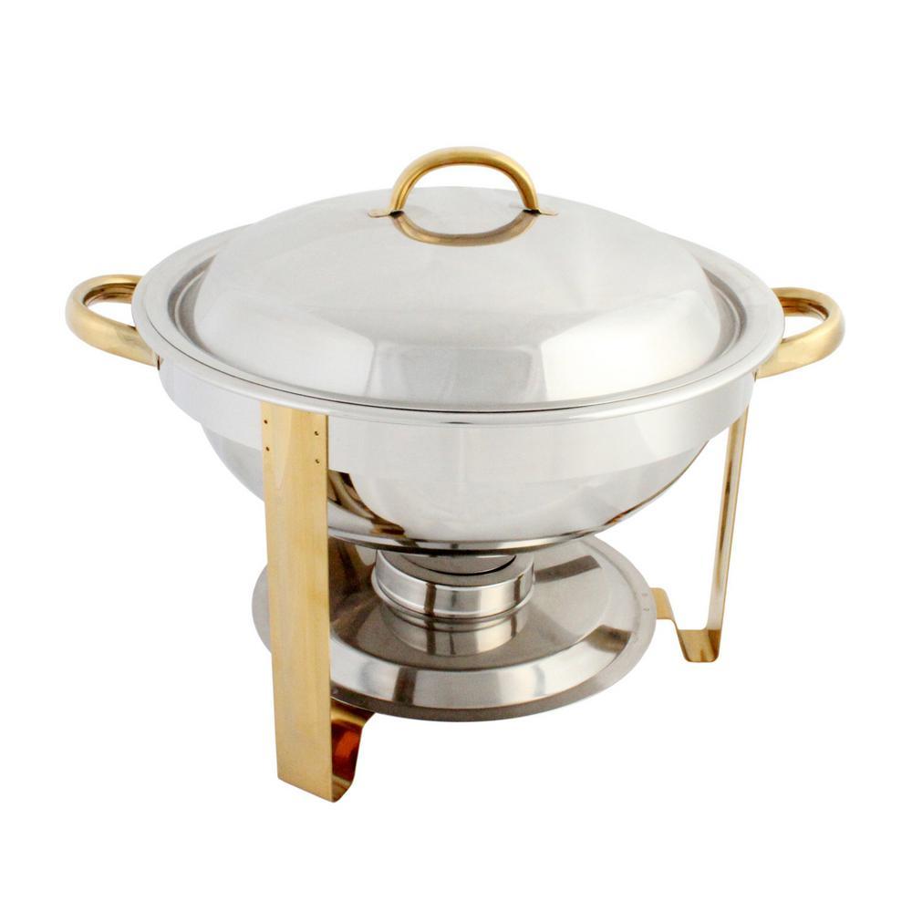 Restaurant Essentials Stainless Steel 4 Qt. Gold Accented Round Chafer Set
