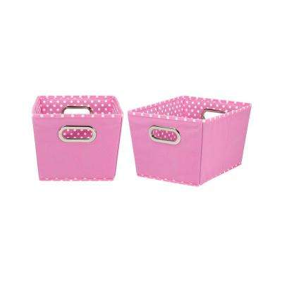 8 in. x 13 in. 2-Tone Pink Fabric Small Tapered Storage Bin