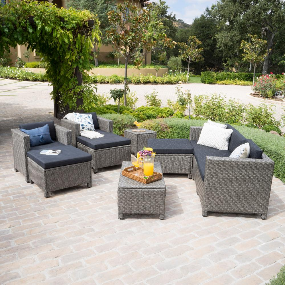 Noble House 10-Piece Wicker Patio Sectional Conversation Set with Mixed Black Cushions