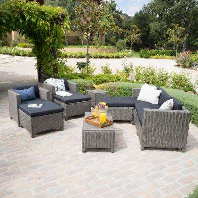 10-Piece Wicker Patio Sectional Conversation Set with Mixed Black Cushions