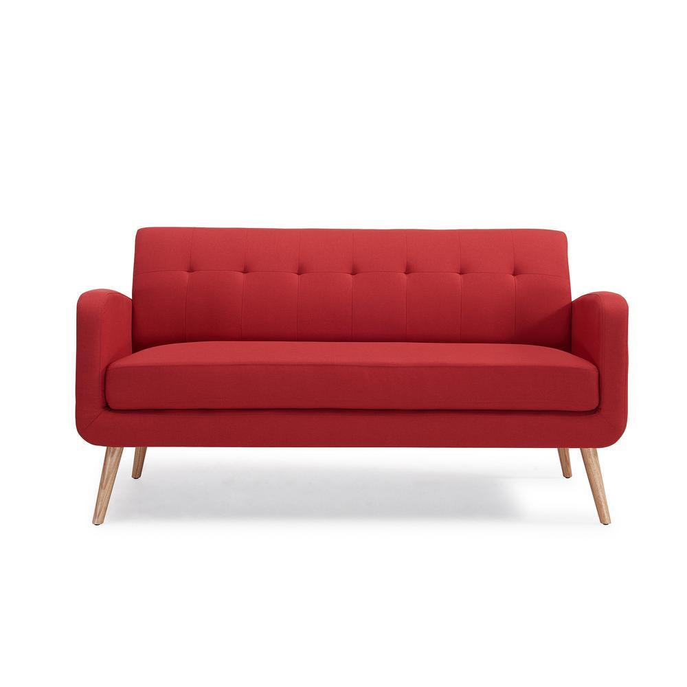 Mid Century Modern Sofas: Handy Living Kingston Mid Century Modern Sofa In Red Linen
