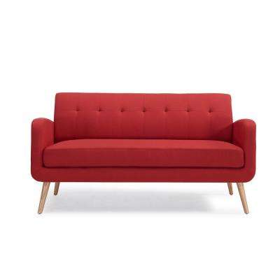 Kingston Mid Century Modern Sofa In Red Linen With Natural Legs