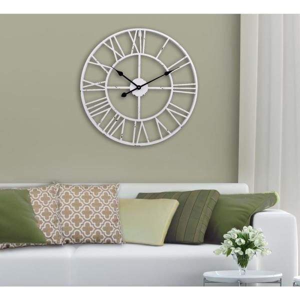 Utopia Alley Oversized Roman Round Wall Clock, White, 30''
