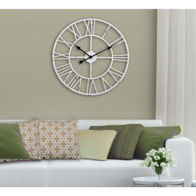 30 in. Antique White Round Distressed Finish Metal Wall Clock