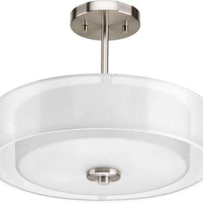 Invite Collection 3-Light Brushed Nickel Semi-Flushmount