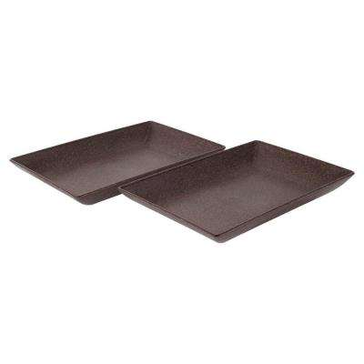 EVO Sustainable Goods Dark Brown Eco-Friendly Wood-Plastic Composite Serving Dish Set (Set of 2)