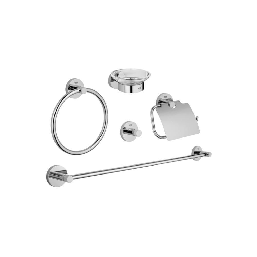 Grohe essentials master 5 piece bath hardware set in for Bathroom accessories grohe