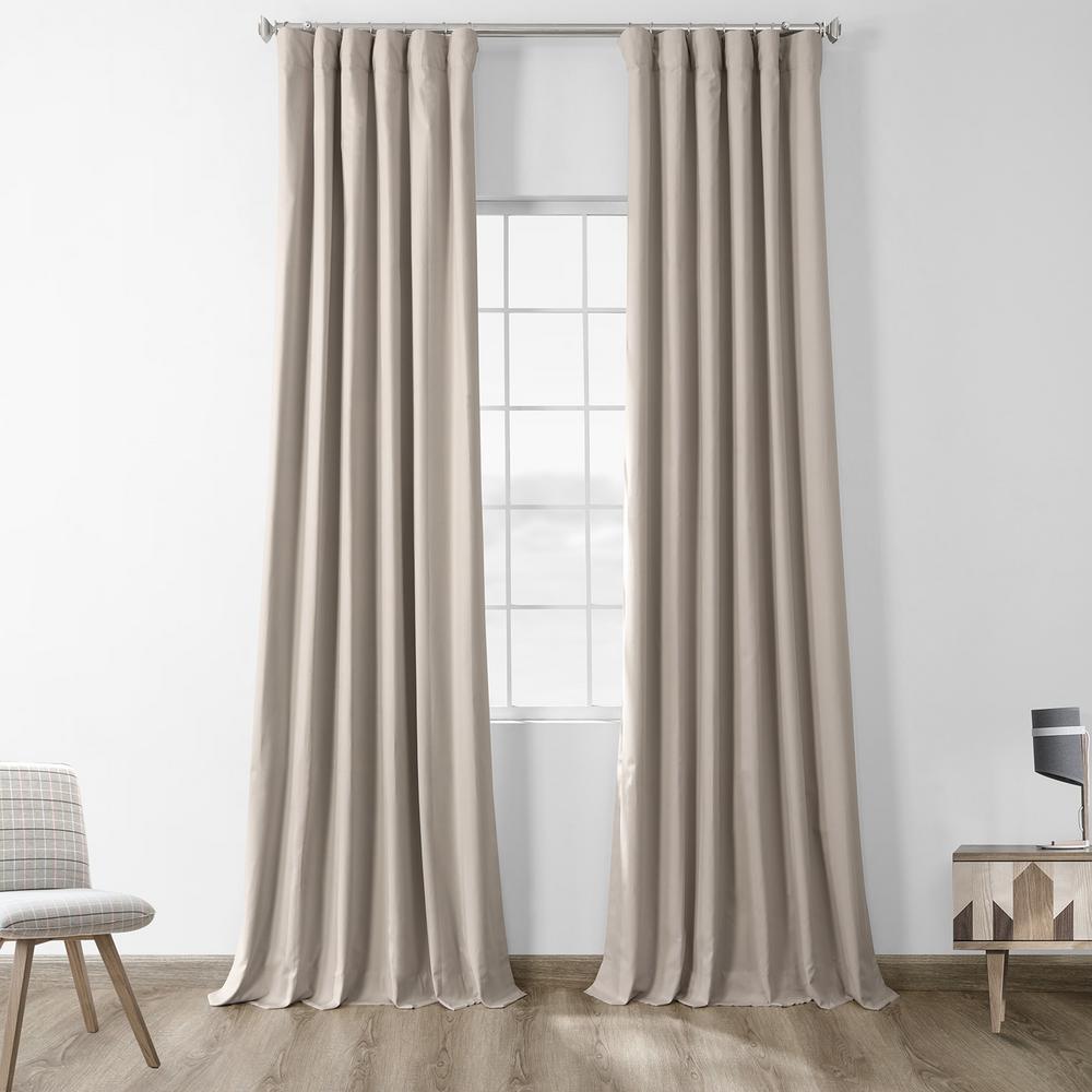 Hazelwood Beige Solid Cotton Blackout Curtain - 50 in. W x 84 in. L