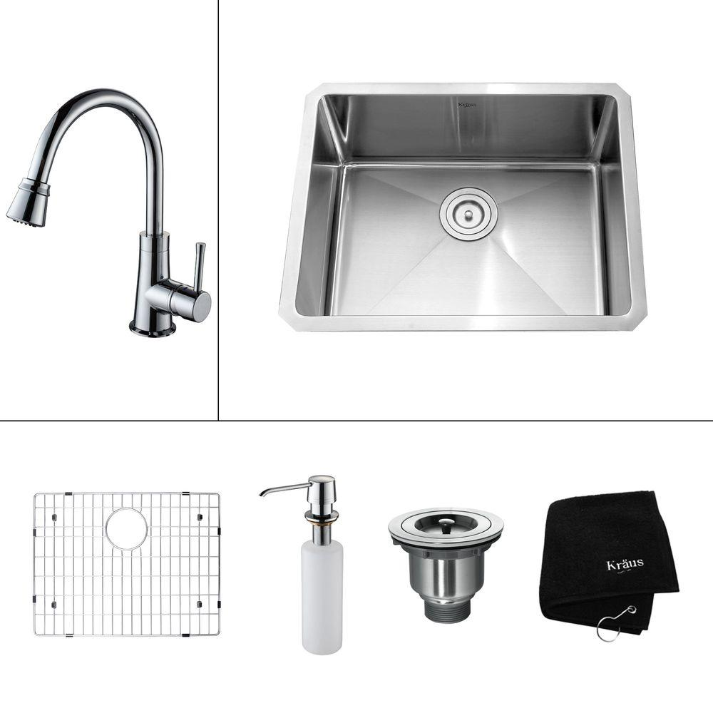 KRAUS All-in-One Undermount 23x18x14.9 0-Hole Single Bowl Kitchen Sink with Chrome Accessories