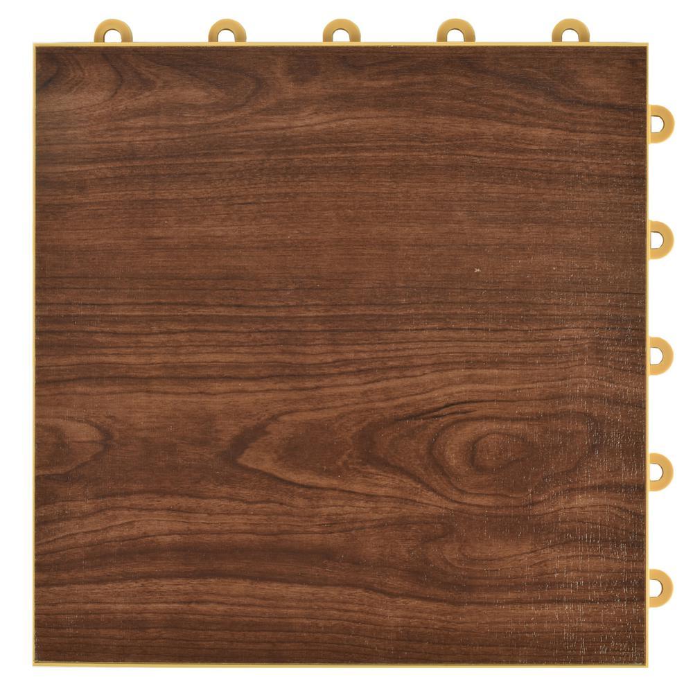 Walnut Interlocking Bat Plastic And Vinyl Floor Tile 24 Pack 5 Sq Ft