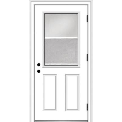 32 in. x 80 in. Vented Left-Hand Outswing 1/2 Lite Clear Primed Steel Prehung Front Door with Brickmould