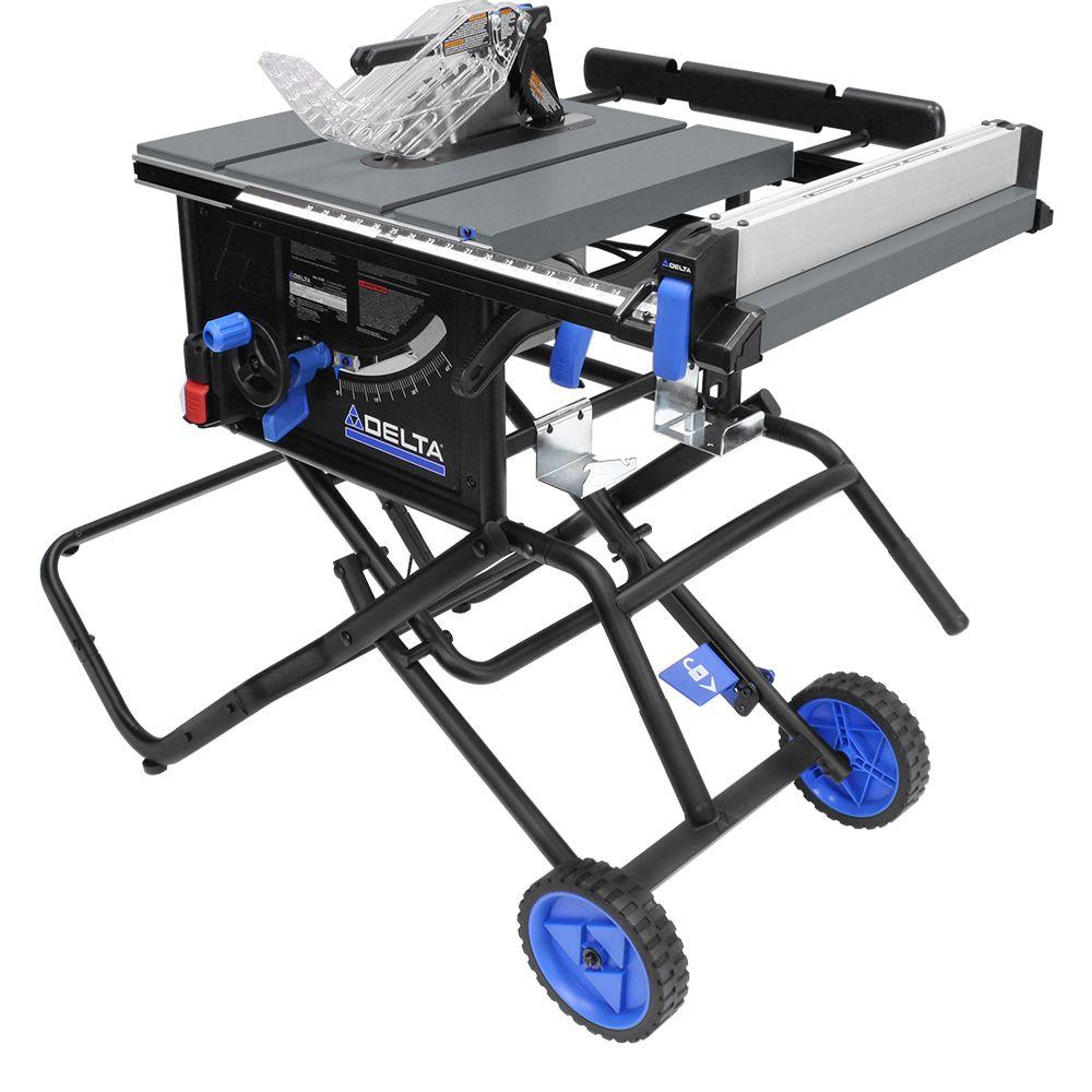 Delta 15 amp 10 in left tilt portable jobsite table saw with left tilt portable jobsite table saw with rolling stand greentooth