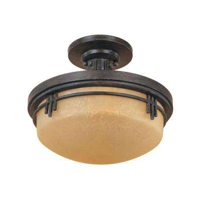 Mission Ridge 2-Light Warm Mahogany Ceiling Semi-Flush Mount Light