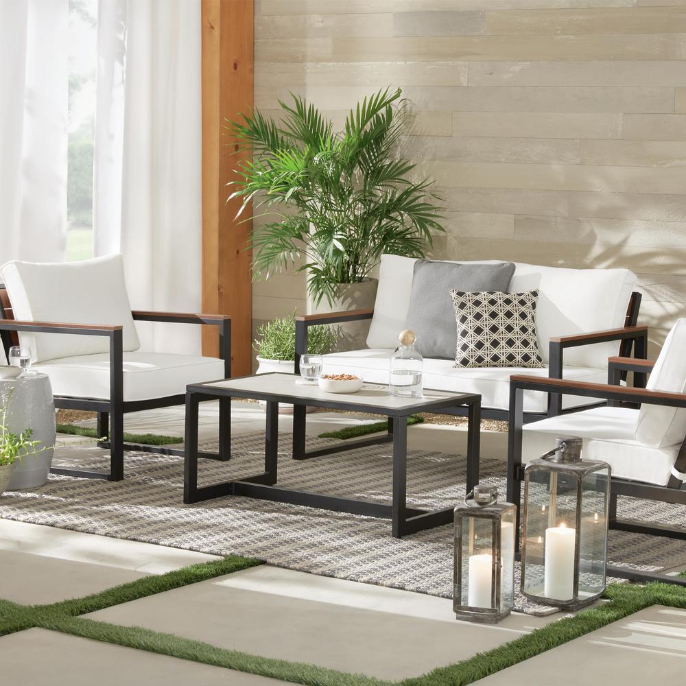 West Park 4-Piece Black Aluminum Outdoor Patio Conversation Set with CushionGuard White Cushions