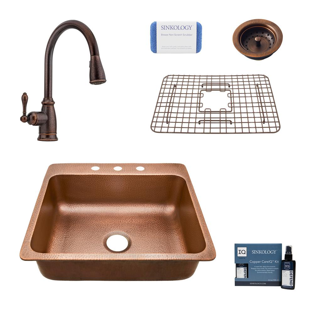 SINKOLOGY Rosa All-In-One Drop-In Copper 25 in. 3-Hole Single Bowl Copper  Kitchen Sink with Pfister Bronze Faucet and Drain