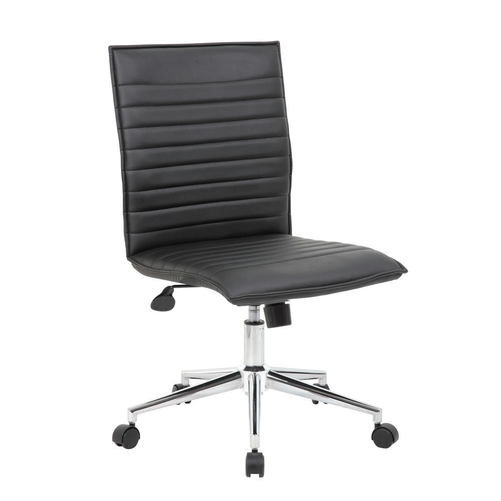 Black Contemporary Armless Desk Chair