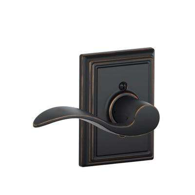Accent Aged Bronze Left Handed Dummy Door Lever with Addison Trim