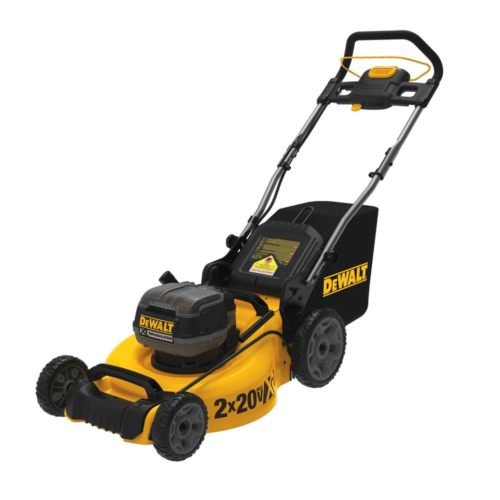 DEWALT 20 in. 20-Volt MAX Lithium-Ion Cordless Walk Behind Push Lawn Mower with (Two) 9.0 Ah Batteries and Charger Included