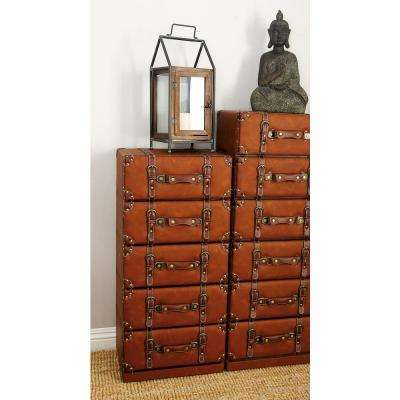 Globetrotter 5-Tiered Wood and Leather Trunk-Style Cabinet