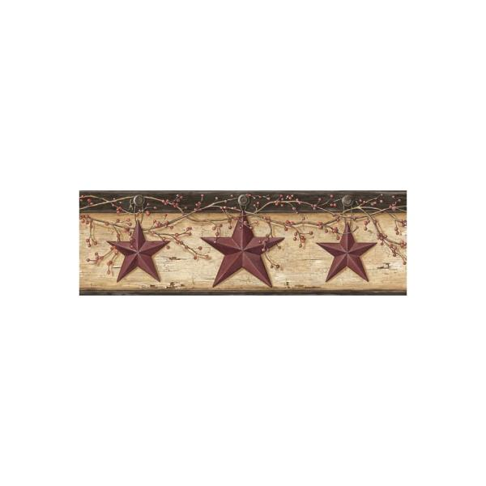 Graham Sand Rustic Star Trail Red Wallpaper Border