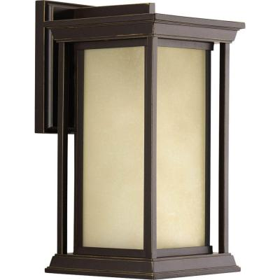 Endicott Collection 1-Light Antique Bronze 14.25 in. Outdoor Wall Lantern Sconce